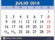 July month in a year 2018 wall calendar in spanish Julio