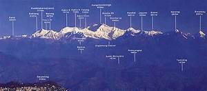 Photographs and map of Mount Siniolchu in Sikkim in NE India