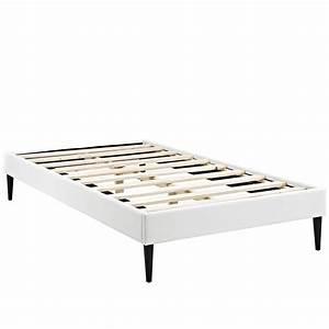 Sherry Upholstered Vinyl Leather Twin Platform Bed Frame