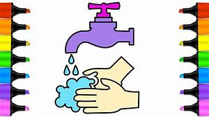 How to Draw wash your Hands | Baby hand wash drawing ...
