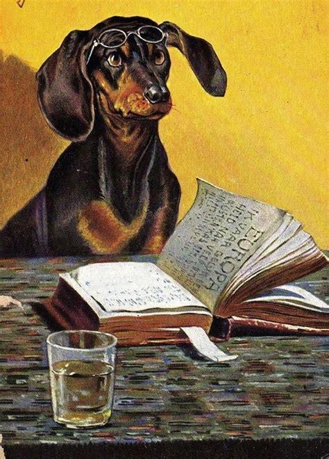 Dog Books Vintage Dachshund Doxie Art