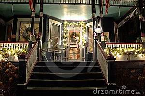 Victorian Porch At Christmas Stock Image