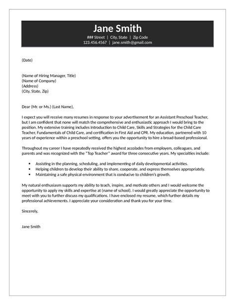 assistant preschool teacher cover letter