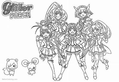 Glitter Force Coloring Pages Precure Characters Printable