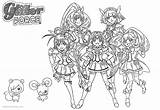 Glitter Force Coloring Precure Characters Printable Adults sketch template