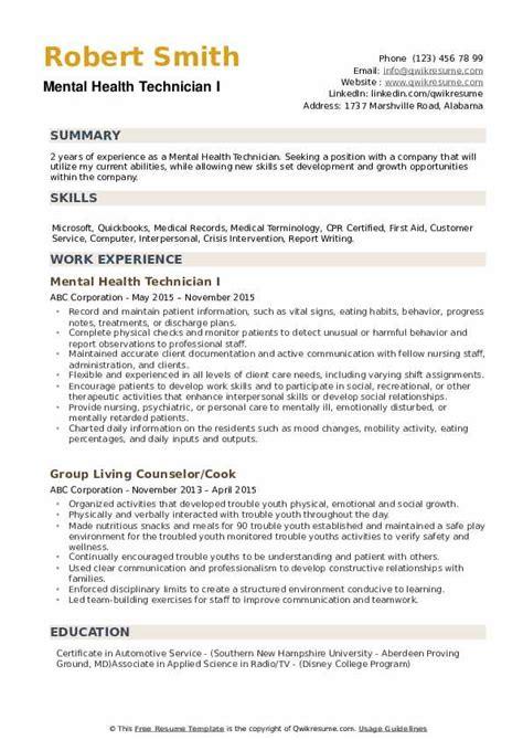 mental health technician resume sles qwikresume