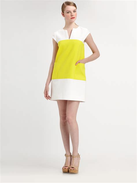 kate spade color block dress kate spade colorblock shift dress in yellow lyst