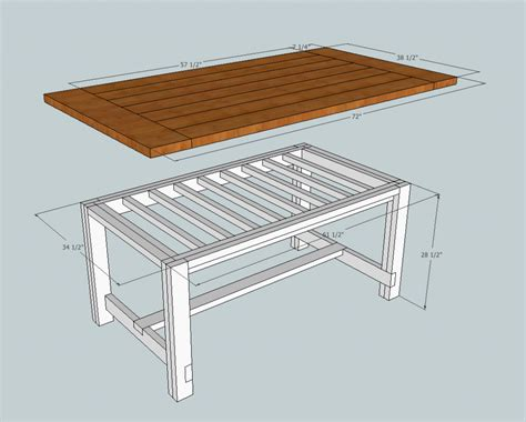 rustic farmhouse table plans showing  tabletop