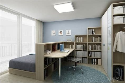 Decorating Ideas For Bedroom Office by Bedroom Home Office Combo Divided With Bookcase Home