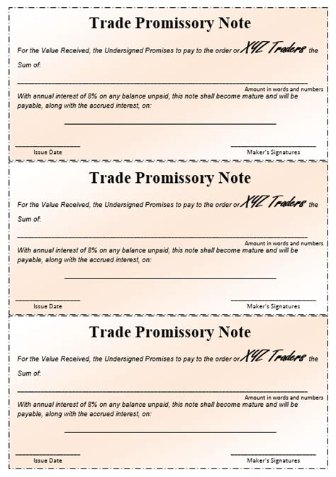 promissory note samples templates ms word