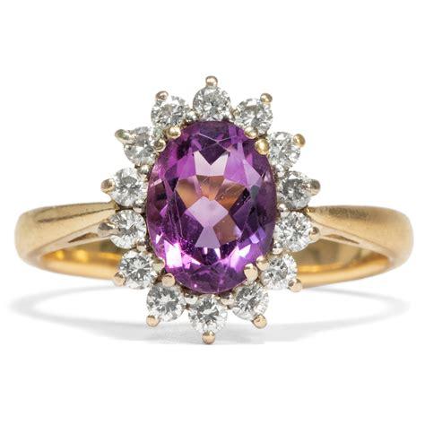 Das Gewisse Etwas Englisch feiner vintage ring mit amethyst diamanten um 1965