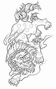 Luxury outline chinese foo dog hunting on his prey tattoo ...
