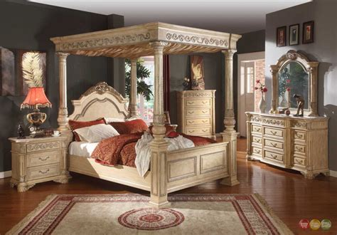kamella antique white traditional queen poster canopy bed