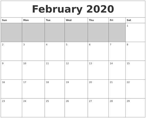 february blank printable calendar