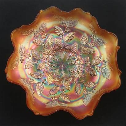 Bowl Ruffled Carnival Glass Fenton Marigold Antique
