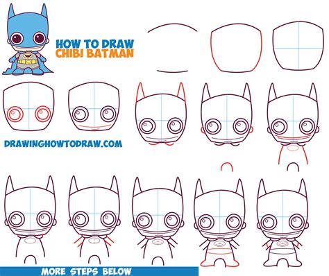 draw cute chibi batman  dc comics  easy step