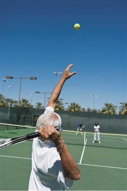 Tennis Senior Serve Serving Baseball Player Male
