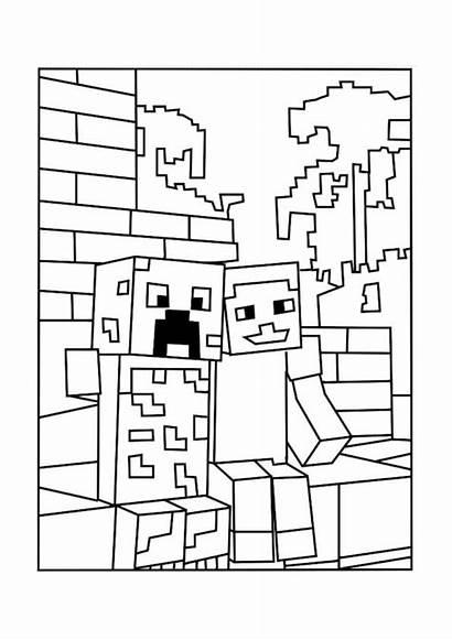 Minecraft Coloring Creeper Printable Lego Salvo Desenhos
