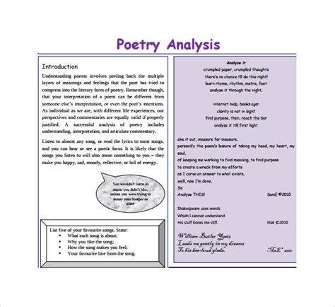 Poetry Templates For by 7 Poetry S Analysis Templates To Sle Templates