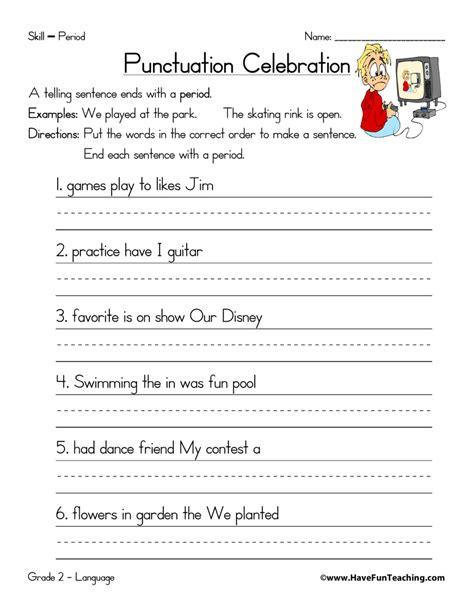 punctuation worksheets  fun teaching