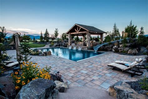 Remodel Kitchen Island Ideas - luxury backyard with pool and gazebo accessible by wheelchair hgtv