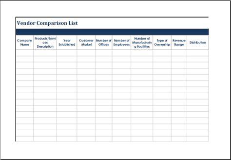 quartermaster templates ms excel vendor comparison list template excel templates