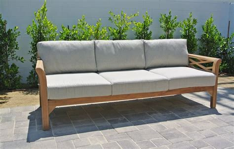 monterey outdoor teak sofa sunbrella cushion