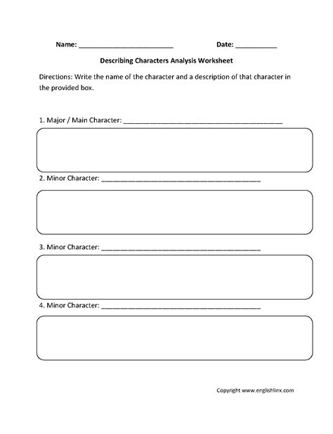 characterization worksheets worksheets for all