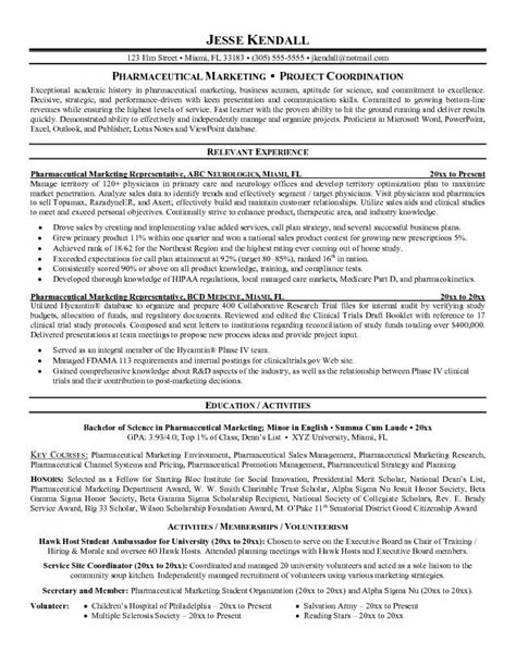 Pharmaceutical Chemist Resume Sles by Pharmaceutical Sales Resume Objective Sle Vmore Info