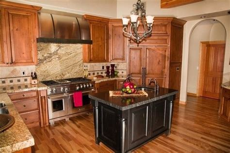 acacia floors with alder cabinets   this pic has maple