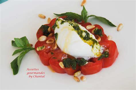 recette cuisine moleculaire burrata salade tomates mozzarella pesto de basilic