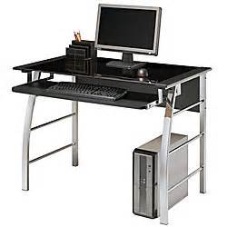 realspace mezza straight desk black glass top blackchrome