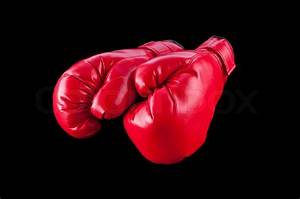 Red boxing gloves isolated on black | Stock Photo | Colourbox