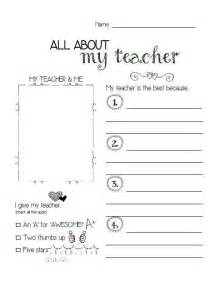 All About My Teacher Appreciation Printable