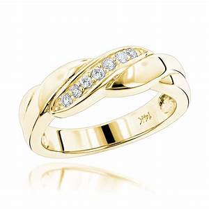 14k gold womens diamond wedding band 011ct With wedding band rings for women