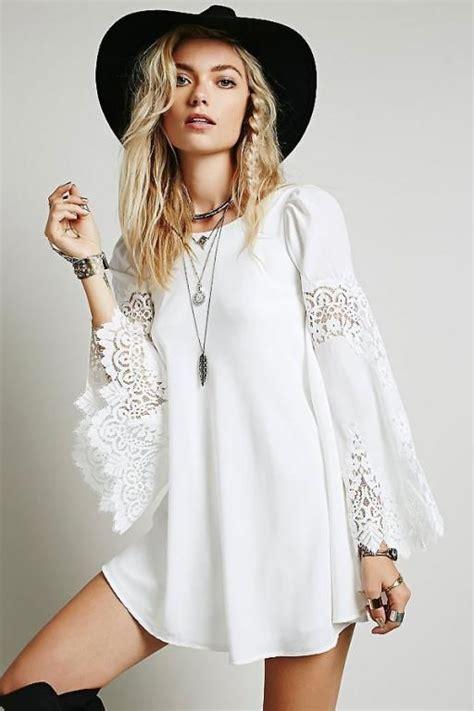 robe blanche courte boheme robe courte tunique manches evasees blanche boho boheme