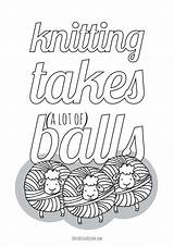 Knitting Coloring Lot Balls Takes Yarn Adults Square Funny Printables True Themed Don Printable Lots sketch template