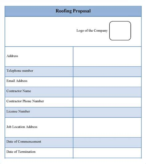 roofing estimate templates  docs word roofing