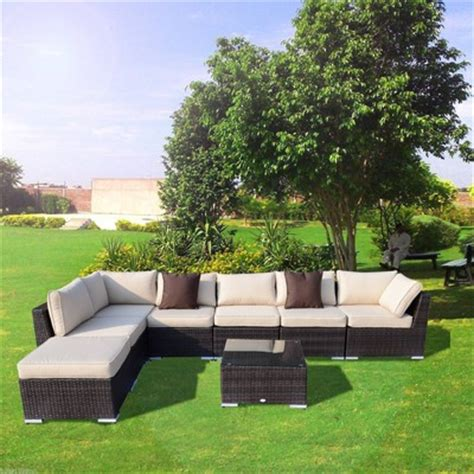outsunny 8pc deluxe outdoor patio furniture set rattan