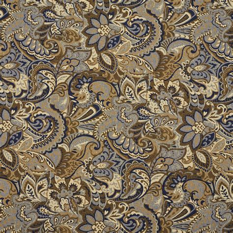 Upholstery Fabrics by Beige And Blue Abstract Paisley Upholstery Fabric