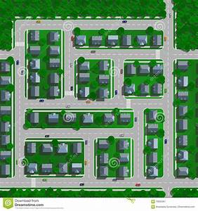 Top View Of The City Of Streets, Roads, Houses, Vector ...