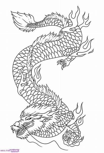 Coloring Japanese Dragon Pages Drawing Printable Adult