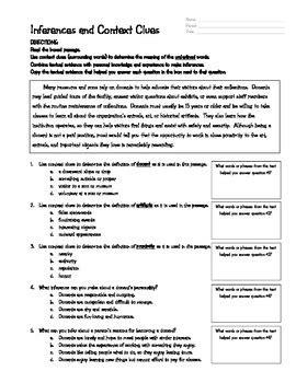 context clues  inferences worksheet   star ela tpt
