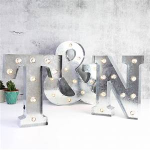 couples initials industrial metal led letter lights by With metal wall letters with lights