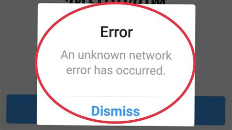 error network instagram unknown occurred problem android