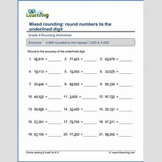 Grade 4 Mixed Rounding Worksheets  K5 Learning