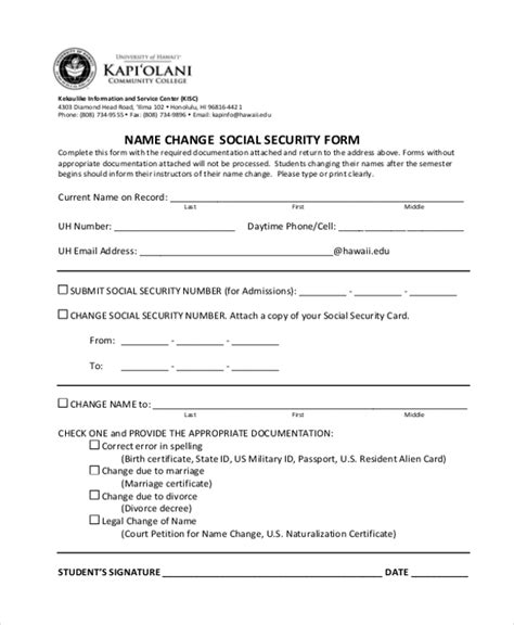 social security name change sle social security form 16 free documents in pdf