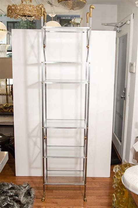 Brushed Nickel Etagere by Pair Of Brushed Nickel And Brass Etageres At 1stdibs