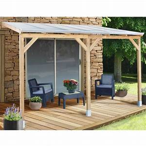 Pergola adossée bois traité toiture polycarbonate 3x3,7 m Gamm Vert