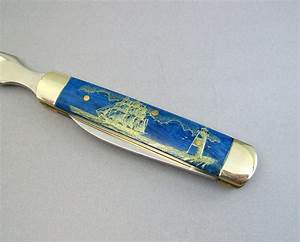 bone scrimshaw nautical letter opener with knife blade hand With bone letter opener